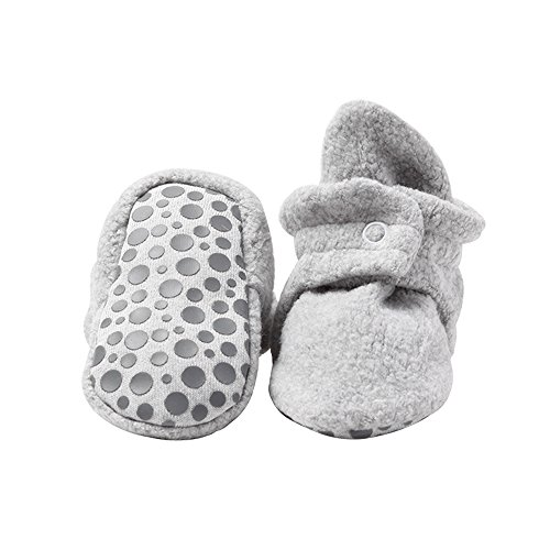 Baby Bootie Infant Socks (Cozie Fleece Baby Booties with Grippers 12M (6-12 Months), Heather Gray)