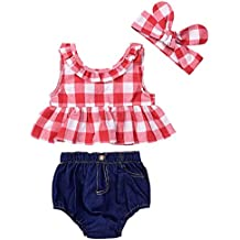 Baby Girls Plaid Ruffle Bowknot Tank Top+Denim Shorts Outfit with Headband