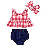Baby Girls Plaid Ruffle Bowknot Tank Top+Denim Shorts Outfit with Headband (80(6-12M), Red)