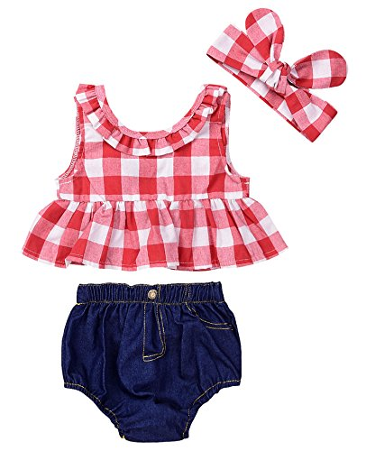 Baby Girls Plaid Ruffle Bowknot Tank Top+Denim Shorts Outfit with Headband (90(12-18M), Red) ()