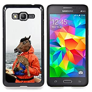 "Qstar Arte & diseño plástico duro Fundas Cover Cubre Hard Case Cover para Samsung Galaxy Grand Prime G530H / DS (Caballo y gato - Funny Meme - Yolo Lol Wtf Troll"")"