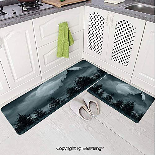 (2 Piece Indoor Modern Anti-Skid Carpet Printed Block Bathroom Carpet,Halloween,Magic Castle Silhouette Over Full Moon Night Fantasy Landscape Scary Forest,Grey Pale Grey,20x31in,20x59in)
