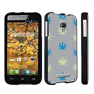 DuroCase ? Alcatel One Touch Fierce 7024W Hard Case Black - (Grey Plants)