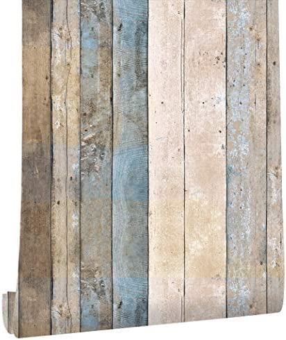 HaokHome 206 壁紙シール 木目 ロールグレー/ベージュ/タン木製プランク壁画ホームキッチンバスルーム装飾