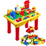 burgkidz Kids Storage Block Table with 68 PCS Large Building Blocks for Toddlers, Children Educational Toy Classic Big Building Bricks Desk and 68 Pieces Building Toys