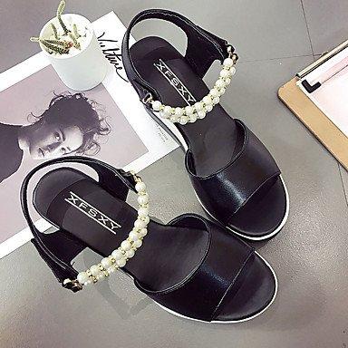 LvYuan Mujer Sandalias PU Verano Paseo Perla Tacón Cuña Blanco Negro 5 - 7 cms White