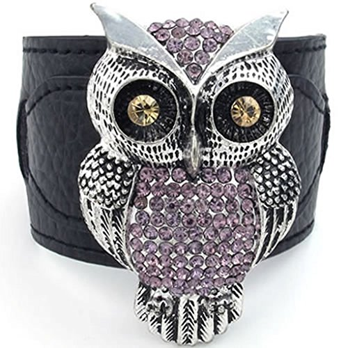 Shrimp Costume Uk (Epinki Leather Bracelet, Womens Owl Cubic Zirconia Bracelet Black Length 8 Inch)