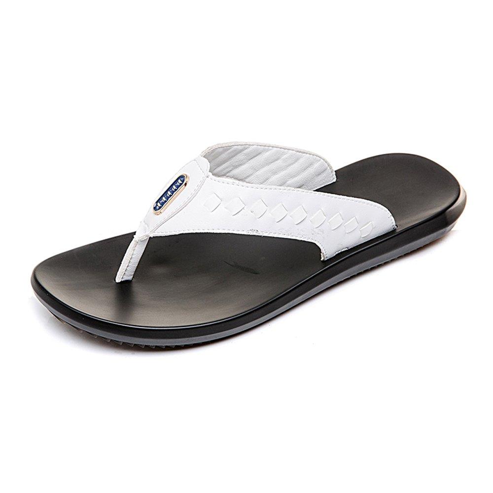 Jiuyue-schuhe, Beiläufige Strand-Pantoffel der Männer rutschfeste weiche flache Sandalen, vervollkommnen irgendeine für den Strand oder irgendeine vervollkommnen Szene im Freien,Herren Sandalen (Farbe : Schwarz, Größe : 41 EU) Weiß c55f5b