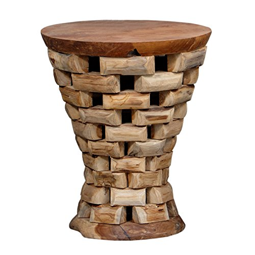 Solid Wooden Teak Material Stool, Teak Puzzled End Table, Natural ...