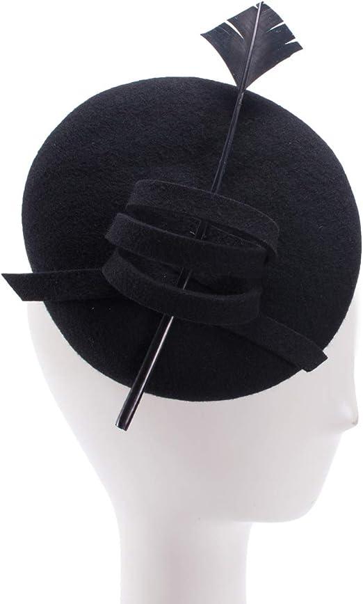 A145 Ladies Curly Feather Felt Wool Fascinator Pillbox Tilt Cocktail Formal Hat