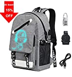 Luminous School Backpack, Unisex Oxford Laptop Backpack School Bag with USB Charging Port
