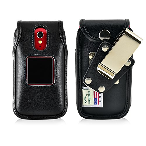 Turtleback Fitted Case for Greatcall Jitterbug Flip Phone Black Leather Rotating Removable Metal Belt Clip Made in USA ()