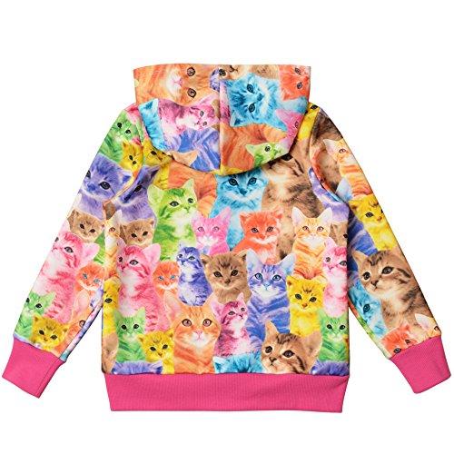 Jxstar Little Girls Cat Jacket Coat Long Sleeve Full Zip Hoodie Outwear Pocket by Jxstar (Image #2)