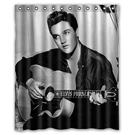 Rock Singer Elvis Presley Playing The Guitar Custom Polyester Shower Curtain 60 X 72 Inch Bathroom Amazoncouk Kitchen Home