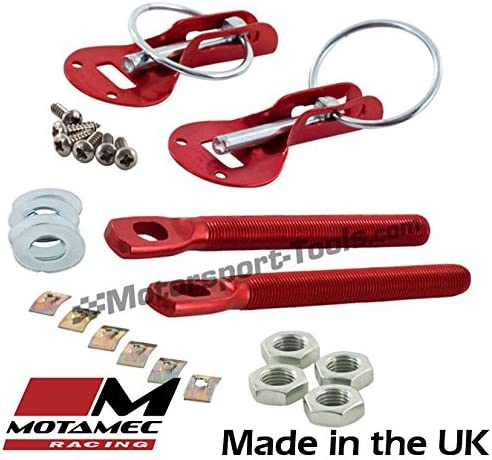 Motamec Bonnet Pins Competition Alloy with Retained Slider Lynch Pin Red Race Rally