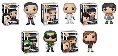 POP Funko Smallville: Clark Kent + Lex Luthor + Clark Kent (Shirtless) + Green Arrow + Lois Lane - Stylized TV Vinyl Figure Bundle Set NEW (Arrow Green Smallville)