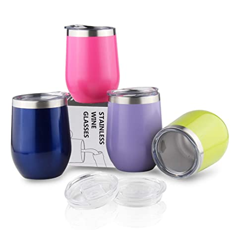 4Packs Travel Coffee Mugs 12OZ Insulated Wine Tumbler with Lids Unbreakable  Vacuum Bulk Drinking Cup for Whisky/Cocktails/Ice Cream - Mermaid Sparkle
