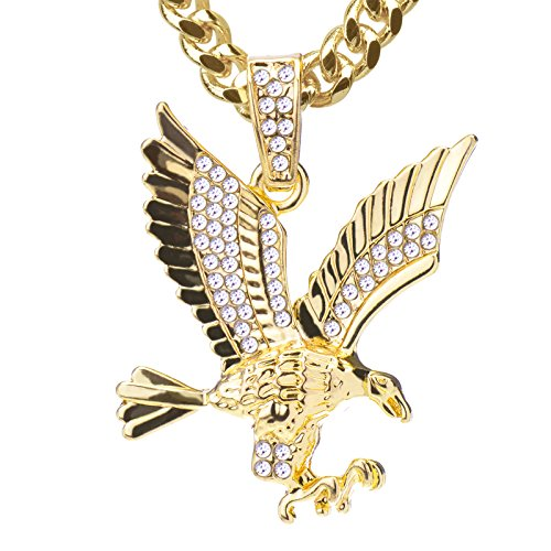 Metaltree98 Iced Out Mini Golden Eagle Pendant 24