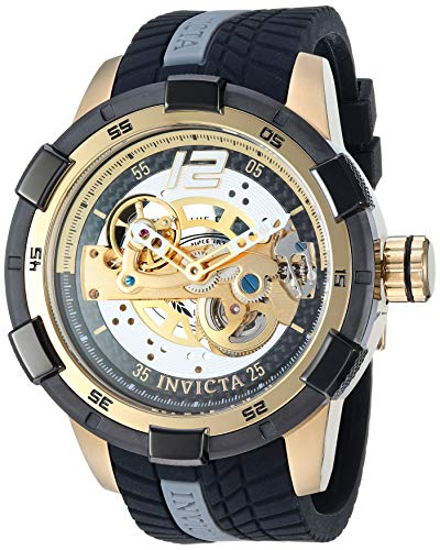 Invicta Men's S1 Rally Stainless Steel Automatic-self-Wind Watch with Silicone Strap, Black, 24 (Model: 26620)