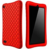 Bear Motion Case for All-New Fire 7 Tablet with Alexa - Anti Slip Shockproof Light Weight Kids Friendly Protective Case for Amazon Kindle Fire 7 2017 (ONLY for 7th Generation 2017 Model) (Red)