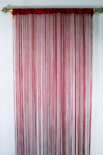 Romantic Spaghetti String Curtain for Home Decor and Divider with Creative Stripe Tassel Design (39x79 Inch, Red)