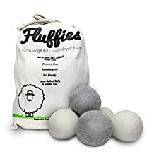 FLUFFIES 100% Natural Softener XL Handmade Organic Wool Dryer Balls, Economical and Eco-friendly, chemical-free, hypo-allergenic, eliminates static and wrinkles,