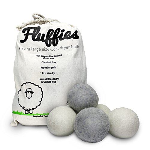 FLUFFIES 6XL 100% Natural Softener Handmade and Organic Wool Dryer Balls - Eco-friendly, Chemical-free and Hypo-allergenic alternative to Fabric softeners and Dryer sheets