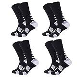 Lohascasa Men's Sport Compression Basketball J Crew SocksBlack and White 4 Pack