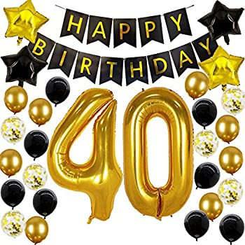 Amazon.com: 40th cumpleaños decoraciones – 40 números globos ...