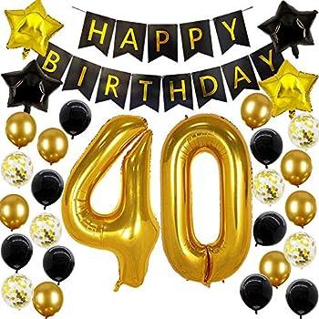 Amazon.com: Kit de decoración de 40 cumpleaños – Globo de ...