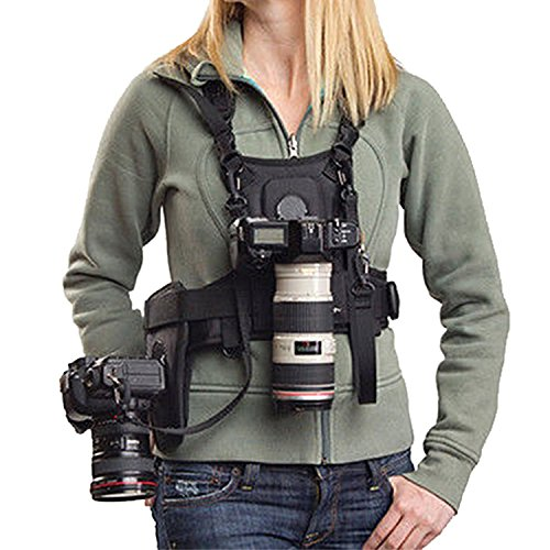 Micnova MQ-MSP01 Multi Camera Carrying Chest Harness System Vest with Side Holster & Cleaning Cloth for Canon 6D 600D 5D2 5D3 Nikon D90 Sony A7S A7R A7S2 Panasonic Olympus DSLR Cameras by Micnova
