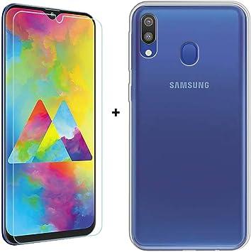 SCDMY para Samsung Galaxy M20 Funda + Cristal Templado, Transparente Carcasa Protector de Silicona Suave TPU Parachoques Case Cristal y Templado (6.3