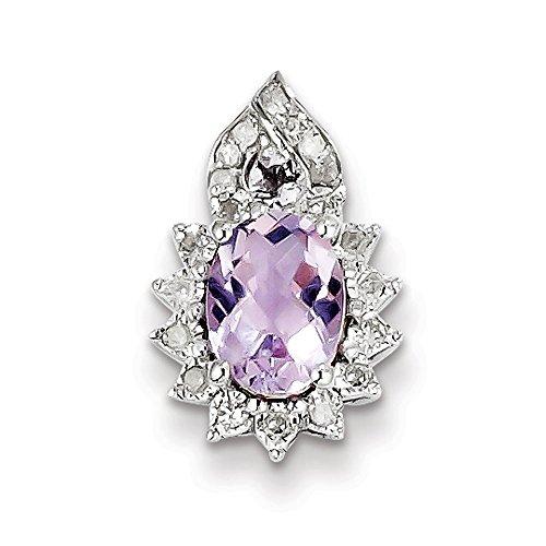 Argent sterling diamant rose Pendentif améthyste