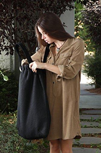 Weekend Patchwork Tote (Handmade Giant-size Canvas Tote Shoulder Handbag ,black Oversize Canvas Tote Bag)
