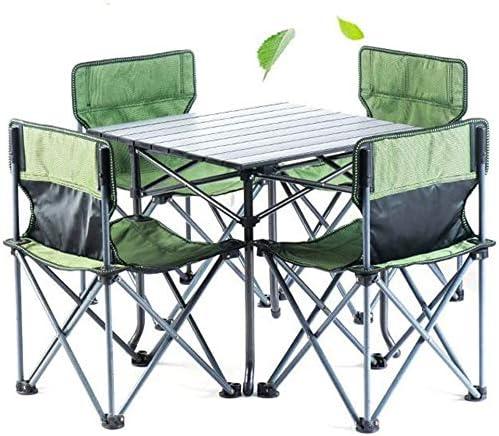 vidaXL Set Plegable de Camping Picnic 1 Mesa 4 Taburetes Asientos Jard/ín Cocina Patio