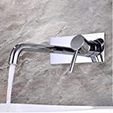 Copper Hot Wall Type Flush Basin Faucet Single Basin Wash Basin Stage Basin Faucet