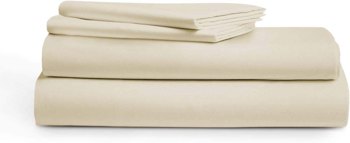800 Thread Count 100% Cotton Sheets,Ivory Queen Size Sheet Set, 4-Piece Long-Staple Egyptian Cotton Luxury Sheets for Bed, Breathable, Soft & Silky Sateen Weave, Fits Mattress 16'' Deep Pocket