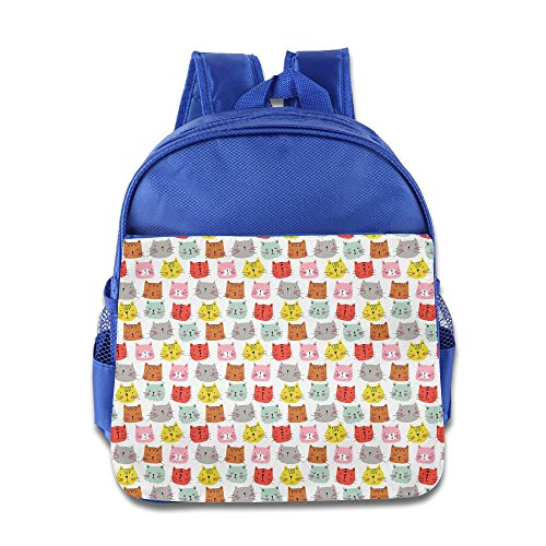 Custom Funny Cat Boys And Girls School Bagpack For 1-6 Years Old RoyalBlue