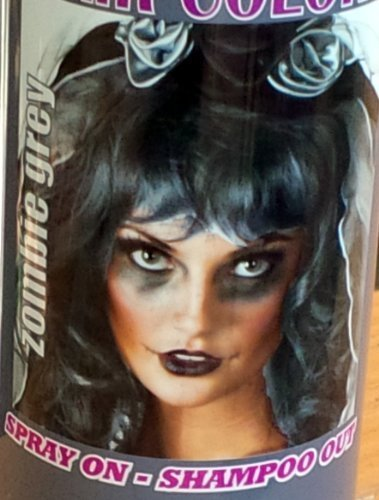 Spray On Wash Out Zombie Grey Gray Hair Color Temporary Hairspray Great For Costume or Halloween Party Rave Concert Stage Play Musical Movie Photo DragonCon ComiCon Festival RESULTS MAY VARY for $<!--$9.49-->