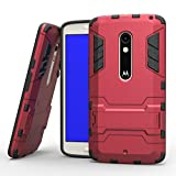 MOONCASE Moto X Play Case Detachable 2 in 1 Hybrid Armor Case Dual-Layer Shockproof Case Cover with Built-in Kickstand for Motorola Moto X Play Red