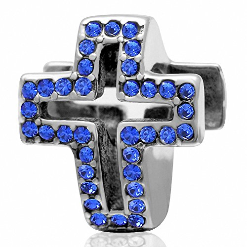 Christian Sapphire Cross (Pave Light Christian Cross Charm 925 Sterling Silver Charms with Sapphire Birthstone Crystal for Charms Bracelet)