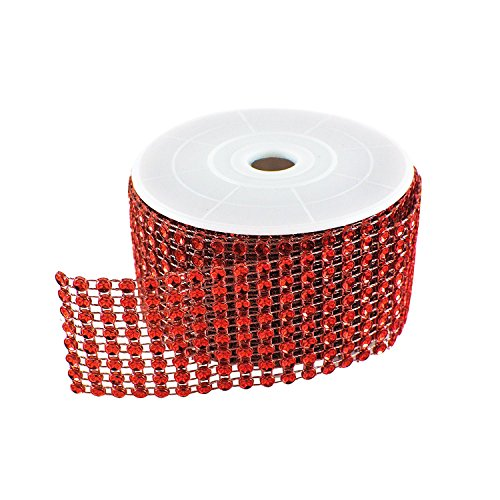 "Diamond Sparkling Rhinestone Mesh Ribbon Roll for Arts & Crafts, Event Decorations, Wedding Cake, Birthdays, Baby Shower, 1.5"" x 3 Yards, 8 Row, 1 Roll by Super Z Outlet (Red)"