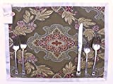 USA Handmade - Olive Green PLACE MAT in Rich Damask Tapestry Fabric - Winter Table Decor 1 - by