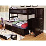 Discovery World Furniture Twin Over Full Stair Stepper Bed with Trundle in Espresso Finish