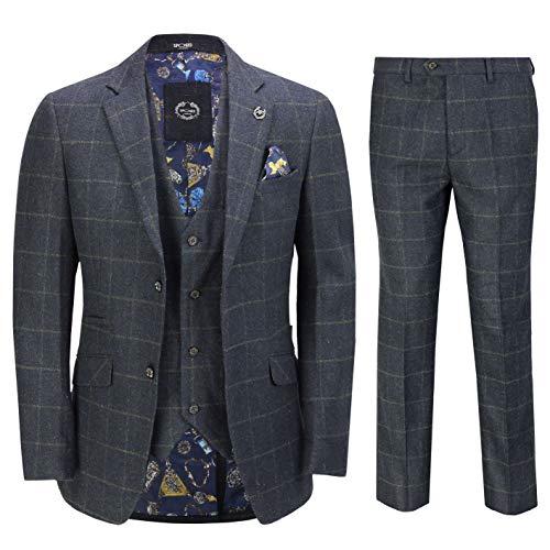 XPOSED Mens 3 Piece Suit Herringbone Tweed Navy Blue Check ...