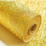 3D Gold Foil PVC Wallpaper for KTV Hotel Barbershop Background Sticker Ceiling Roof restaurant decoration 10M*0.53M (color : Gold)