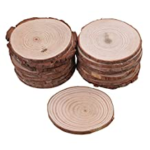 RDEXP 7cm-8cm Dia Natural Pine Wood Unfinished Round Discs Tree Bark Wooden Circles for DIY Crafts Set of 20