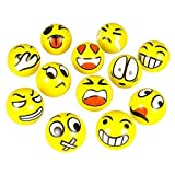 FUN Emoji Face Squeeze Balls- 12 ~ 3'' Stress Relax Emotional Toy Balls ~ Fun Office Stocking Stuffer ~ Gag Toy