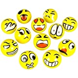 FUN Emoji Face Squeeze Balls- 12 ~ 3'' Stress Relax Emotional Toy Balls ~ Fun Office Holiday Gift ~ Stocking Stuffer ~ Gag Toy