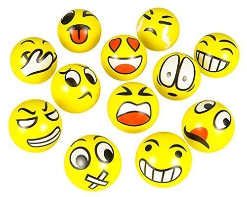 Cheapest Price! FUN Emoji Face Squeeze Balls- 12 ~ 3'' Stress Relax Emotional Toy Balls ~ Fun Office...